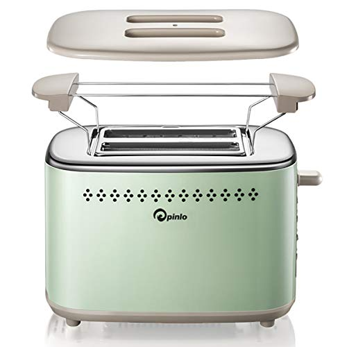 (Toaster 2-Slice Stainless Steel Toasters with 2 Extra Wide Slots 6 Browning Dials and Removable Crumb Tray Warming Rack for Breakfast Bread Muffins Ovens Toasters with Defrost Reheat Cancel Function)
