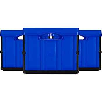 CleverMade CleverCrates 46 Liter Collapsible Storage Bin/Container: Solid Wall Utility Basket/Tote, Royal Blue, 3 Pack