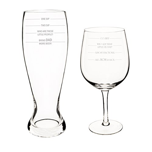 Cathy's Concepts Parent Measuring Beer & Wine Glass Set, X-Large, Clear -