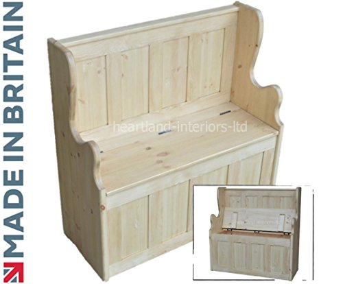 Solid Pine Storage Bench, 3ft Wide Handcrafted & Waxed Monks Bench, Settle, Pew with Lifting Lid Shoe Storage Seat. Choice of Colours. No flat packs, No assembly (MB3P)
