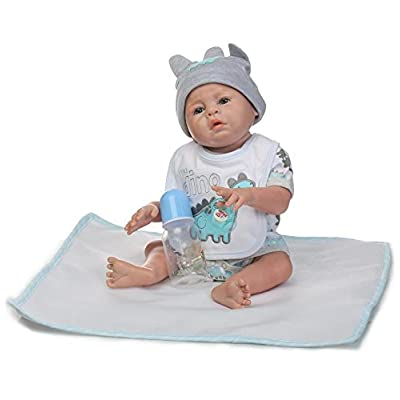 NPK Reborn Doll Real Life Full Body Silicone Vinyl Anatomically Correct Reborn Baby Boy Doll 20inch 50cm Weighted Baby Gray Doll: Toys & Games