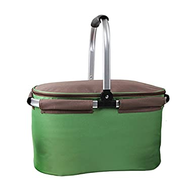 Yodo 22L Soft Picnic Basket - Large Cooler Compartment Insulated up to 4 hours with FDA Approved Aluminum Foil Lining for Camping and Outdoor Sports Event, Green