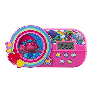 KIDdesigns DreamWorks Trolls Alarm Clock with Music and Night Light, Pink
