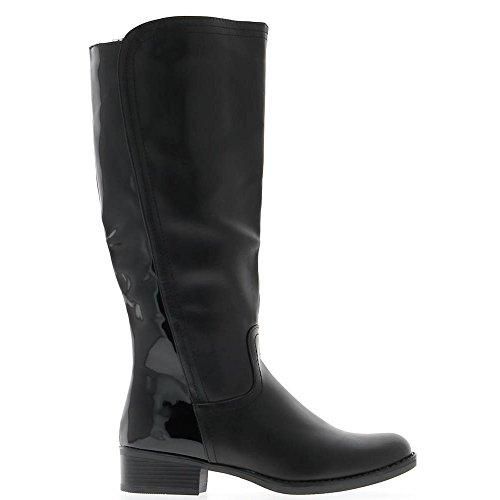Bottes noires à talon carré de 4cm simili cuir