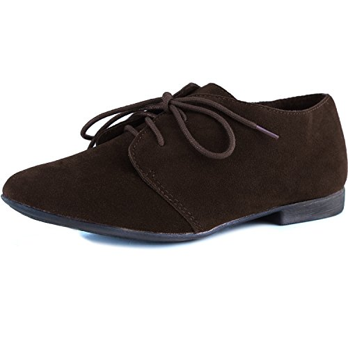 31W Shoes Vegan Oxford Light up Toe Breckelle's Sandy Brown Round Suede Lace wzTfEn5Eq8