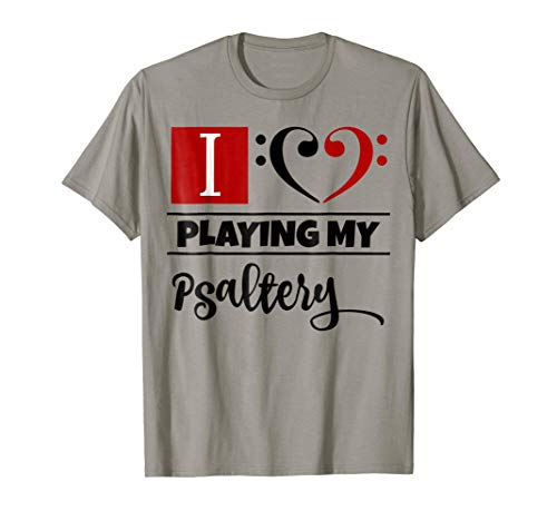 Double Black Red Bass Clef Heart I Love Playing My Psaltery T-Shirt