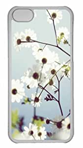 Customized iphone 5C PC Transparent Case - White Summer Flowers Personalized Cover