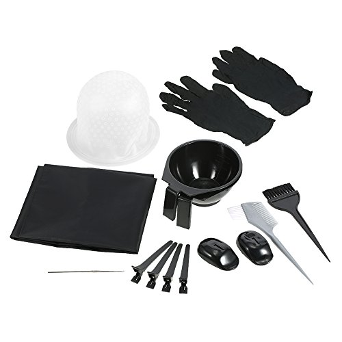 Anself Hair Coloring Kit Dyeing Bowl Brush Salon Apron Hair Cap Hook Sectioning Clips Hairdressing Dyeing Tool by Anself
