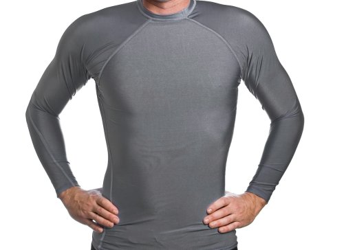 Beach Depot Men's Gun Metal Grey Long Sleeve Rash Guard SPF 50+ Swim Shirt
