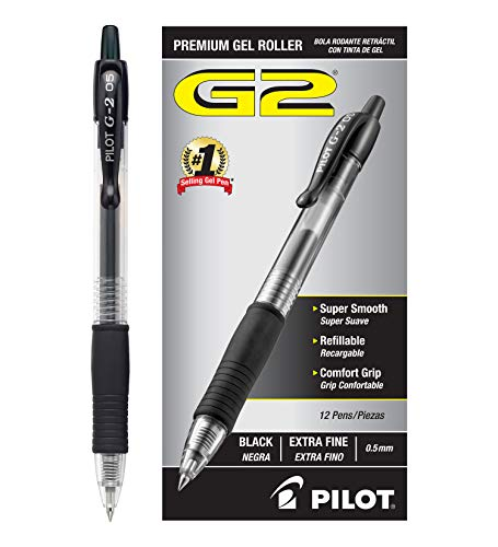 Pilot G2 Retractable Premium Gel Ink Roller Ball Pens Extra Fine (.5) Dozen Box Black; Retractable, Refillable & Premium Comfort Grip; Smooth Lines to the End of Page, America's #1 Selling Pen Brand