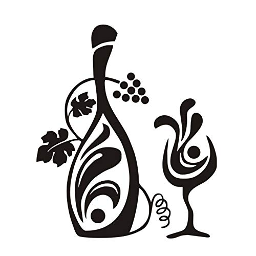TWJYDP Wall Stickers Wallstickers Bottle of Grapevine Wine and A Glass Wall Decals Creative Cafe Bar Kitchen Floral Wall Decor 44X52Cm