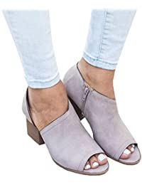 Women's Chunky Heels Sandals Shoes Summer Casual Peep Toe Pumps Ankle Boots