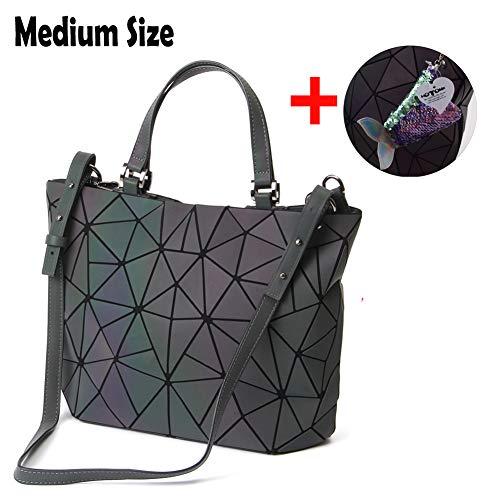 mano bolsos Luminous Medium geométrico Eco de luminoso piel holográfico Rainbow friendly y Shard Entramado Monederos Hotone bolso p6Rxqwgp