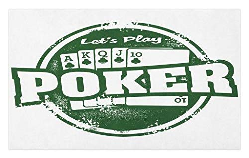 Lunarable Poker Tournament Doormat, Let's Play Poker Stamp with Royal Flush Grunge Vintage Full House Retro, Decorative Polyester Floor Mat with Non-Skid Backing, 30 W X 18 L Inches, Green White