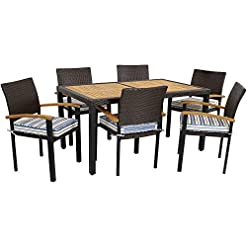 Garden and Outdoor Sunnydaze Carlow Outdoor Dining Set – 7-Piece Rattan and Acacia Outside Patio Furniture – 1 Table and 6 Chairs with… patio dining sets