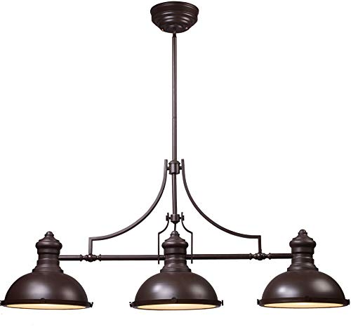 - ELK Lighting 66135-3 Chadwick 3-Light Billiard Light, 21-Inch, Oiled Bronze
