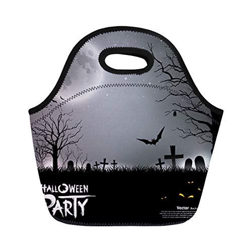 Semtomn Lunch Bags Moon Black Spooky Halloween Party Scary Gray Bat Eyes Neoprene Lunch Bag Lunchbox Tote Bag Portable Picnic Bag Cooler Bag -