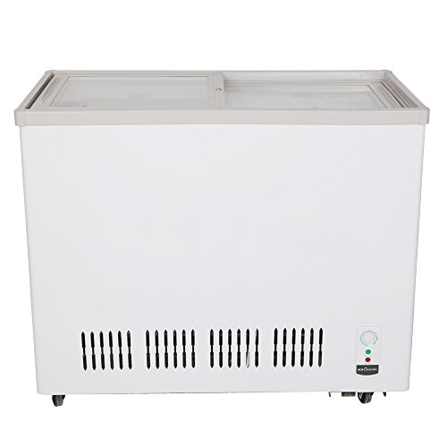 226L Double-Temperature Glass Display Showcase Ice Cream Freezing Chest Deep Freezer Beer Beverages Merchandise Commercial Refrigerator Cooler Fridge Cabinet 8.0 cf.