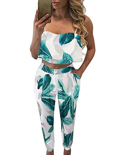 FANCYINN Women 2 Pieces Outfits Floral Print Ruffle Crop Top Long Pants Casual Style Green Leaf S ()