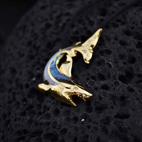 18K Gold Vermeil Shark Necklace Pendant. Abalone Shell. Mother of Pearl. ()