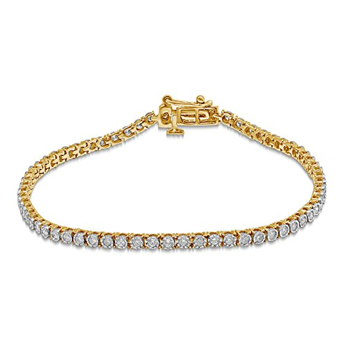 Diamond Jewel 10K Gold 1 CT TW Diamond Tennis Bracelet (yellow-gold) - Diamond Mens Tennis Bracelet