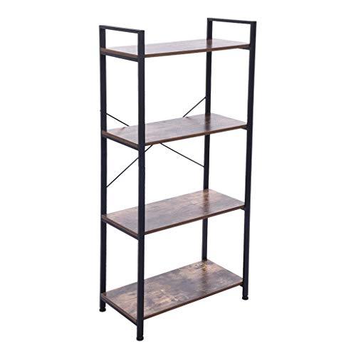 Ktyssp Open Narrow Bookshelf Antique Wood Color Metal Shelf Bookcase Storage Rack Retro Industrial Bookcase Two Specifications Bookcase (B:60x32x130cm)