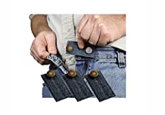 3 Jean Waist Extenders. Add either 1/2 or 2 inches to ones waist. All 3 one color, Blue, with Gold Finish Metal Buttons. 2 Adjustable lengths 1/2 inch or 2 inches.