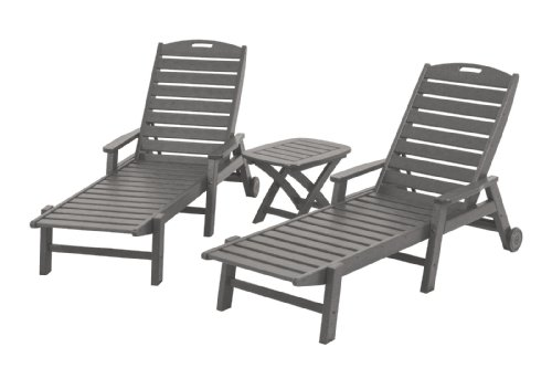 POLYWOOD PWS145-1-GY Nautical 3-Piece Chaise Set, Slate Grey ()