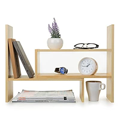 Adjustable Natural Wood Desktop Storage Organizer Display Shelf Rack, Counter Top Bookcase, Beige - A desktop shelf made of natural wood. Features 2 separate pieces that can be pushed close together to create a small shelf rack, pulled further apart to create a longer shelf, or set together at any angle you choose to best fit your space and your style. Perfect for storing books, organizing office supplies, and showing off cherished keepsakes. - wall-shelves, living-room-furniture, living-room - 41gMMI5BIVL. SS400  -