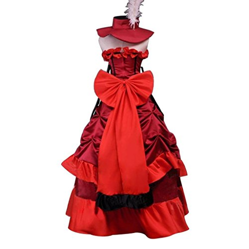 (Cos-me Black Butler Cosplay Red Madame Dress Halloween Party Costume Custom)
