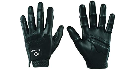 Bionic GGNBMLL Men's StableGrip with Natural Fit Black Golf Glove, Left Hand, - Bionic Leather Gloves Golf