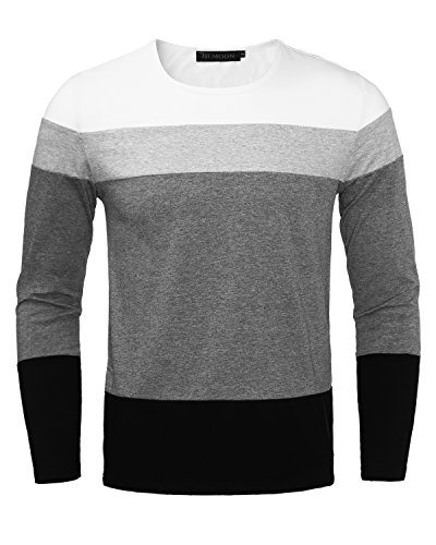 White Basic Crewneck T-shirt (HEMOON Men's Basic Knit Crewneck Color Block Long Sleeve T-Shirt Top White M)