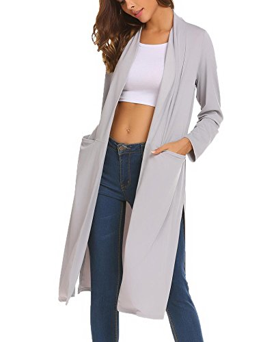 OD'lover Women's Open Front Long Trench Coat Casual Lightweight Blazer Cardigans by OD'lover (Image #3)