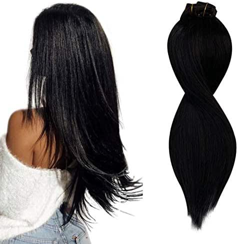 Hair Extensions Clip in Human Hair Natural Black Clip on Hair Extension for Women 14 inches 100g Straight and Thick 20 Clips 8 Pieces Double Weft Smooth and Bouncy #1B