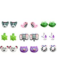 Multi Pairs Cute Animals Resin Studs Earring Set For Girls, Hypoallergenic