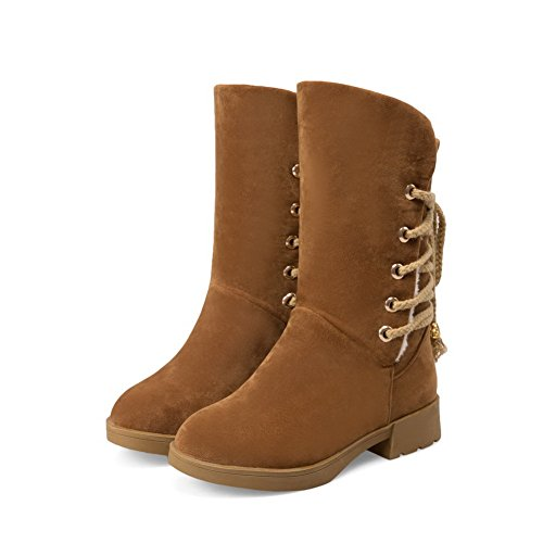 Top Boots Women's up Solid Heels Low Imitated Lace Allhqfashion Brown Low Suede vzdCqq