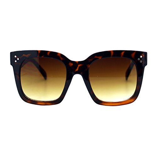 Womens Oversized Fashion Sunglasses Big Flat Square Frame UV 400 (tortoise, - Tortoise Sunglasses Frame