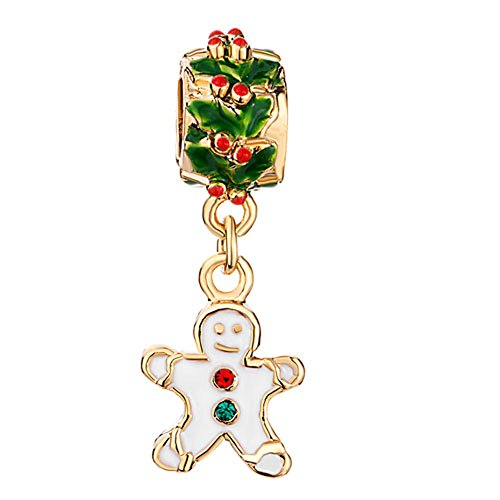 ShinyJewelry Gingerbread Man Cookie Charm Beads For Bracelets (White)