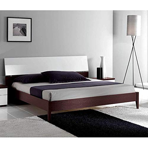 Luca Home Wenge/White Mid-century Style Bed King