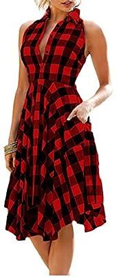 VOGRYE Women Side Pockets Plaid Shirt Dress Pleated Sleeveless Casual Flannel Dress
