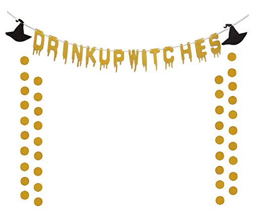 Ucity Gold Glittery Drink Up Witches Hat Banner for Halloween Party Decoration Supplies with 2 Pack Paper Garland