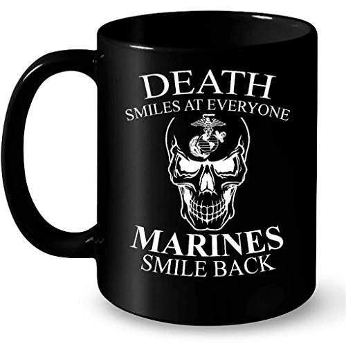 Death Smiles At Everyone Marines Smile Back B - Full-Wrap Coffee Black Mug (Death Smiles At Everyone Marines Smile Back)