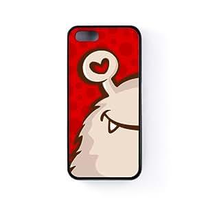 Cute Red Monster on Red Dots Background with Heart Shaped Eye Funda Protectora Snap-On en Silicona Negra para Apple® iPhone 5 / 5s de UltraCases + Se incluye un protector de pantalla transparente GRATIS