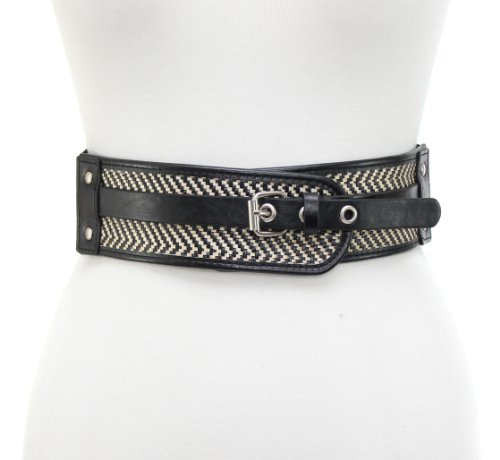 (Style & Co. Womens Belt Stretch Cinch Elastic Back Black Beige Woven S/M)