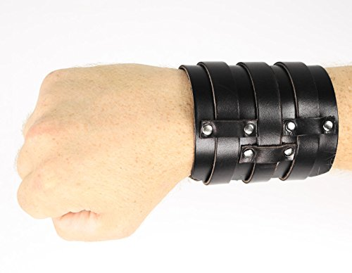 (Largemouth 3 Strap Leather Wristband Costume Accessory (Black))