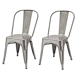 Awesome Adeco Metal Stackable Industrial Chic Dining Bistro Cafe Side Chairs,  Silver Gun Metal (Set