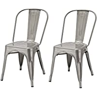 Adeco Metal Stackable Industrial Chic Dining Bistro Cafe Side Chairs, Silver Gun Metal (Set of 2), Gunmetal/Natural Durable Powder Coated Finish