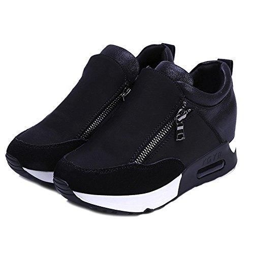 Casual Miroir d'Augmenter De Plateforme À L'intérieur Sumtter Shoes Baskets Femme Plaine Noir vBqW8WH6w