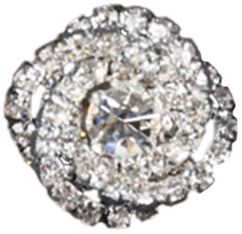 Rhinestone Button BRB-103, 3/4-Inch Silver Resin Base Button, Each Carded ()