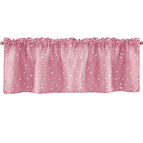 WINGOFFLY 1pcs Darkening Window Curtain Valance Rod Pocket Top Curtain Tiers Blackout Star Swags for Cafe Kitchen Bedroom Living Room 18 x 52 inch Pink